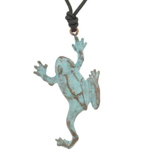 Tree Frog Bronze Pendant Necklace   Nature Jewelry