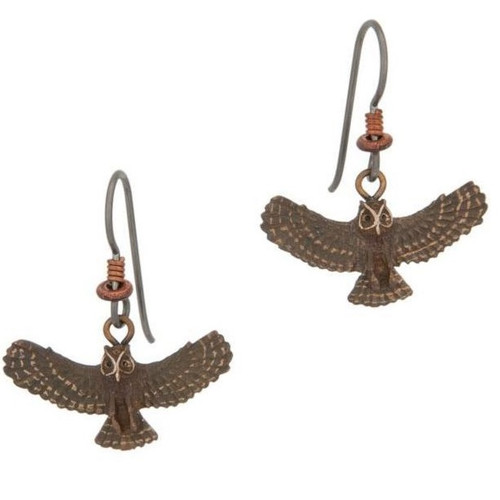 Great Horned Owl Wire Earrings | Nature Jewelry