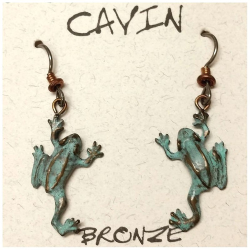 Tree Frog Wire Earrings   Nature Jewelry