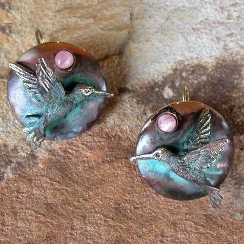 Hummingbird Verdigris Brass Earrings | Elaine Coyne Jewelry | ECGHUP1077e