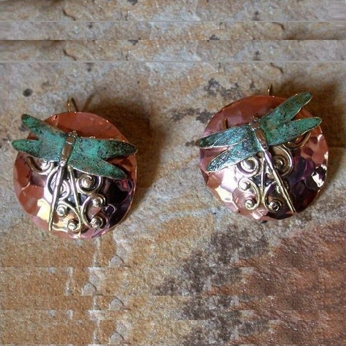 Dragonfly Hand Forged Copper Circle Earrings   Nature Jewelry