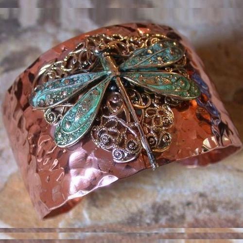 Dragonfly Brass Filigree Cuff Bracelet   Nature Jewelry