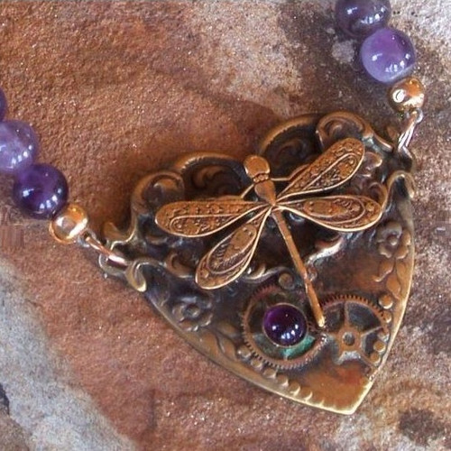 Dragonfly Brass Dogtooth Amethyst Heart Necklace   Nature Jewelry