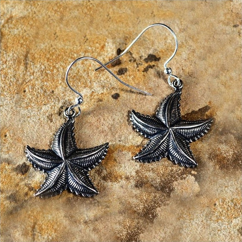 Starfish Antiqued Silver Brass Earrings | Nature Jewelry