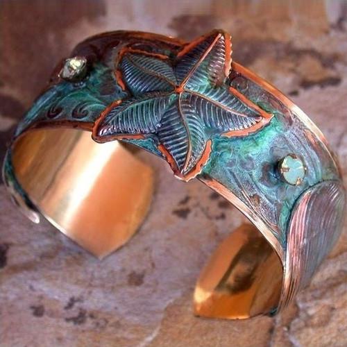 Starfish Verdigris Brass Cuff Bracelet | Nature Jewelry