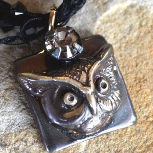 Owl Pendant Necklace Antiqued Gunmetal | Nature Jewelry