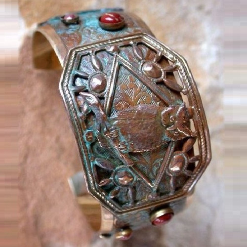 Owl Brass Cuff Bracelet   Nature Jewelry