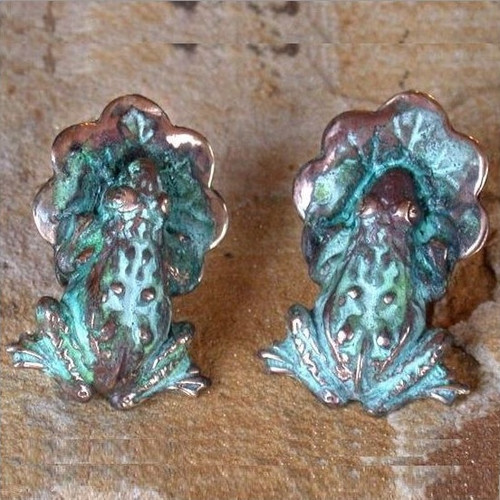 Frog & Lily Pad Verdigris Brass Post Earrings   Nature Jewelry