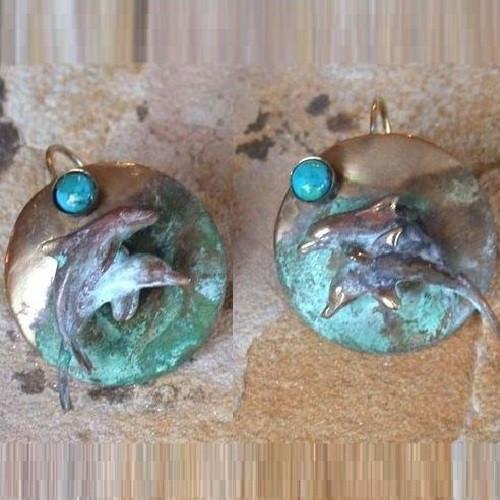 Dolphin Verdigris Brass Earrings | Nature Jewelry