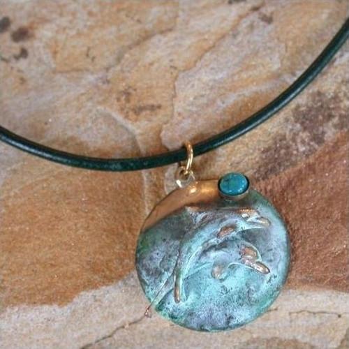 Dolphin Verdigris Brass Necklace | Nature Jewelry