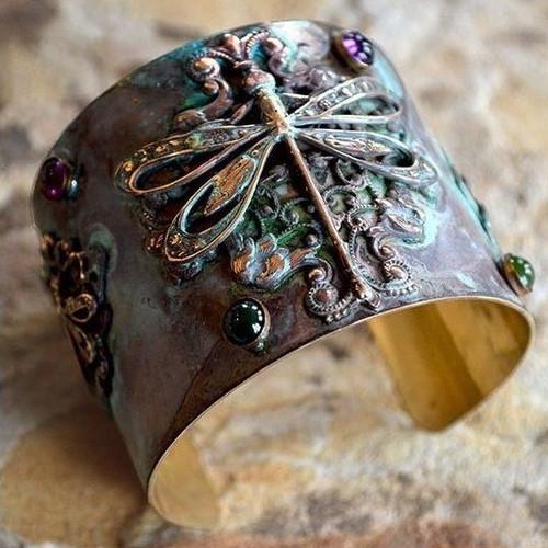 Dragonfly Amethyst & Jade Cuff Bracelet   Nature Jewelry
