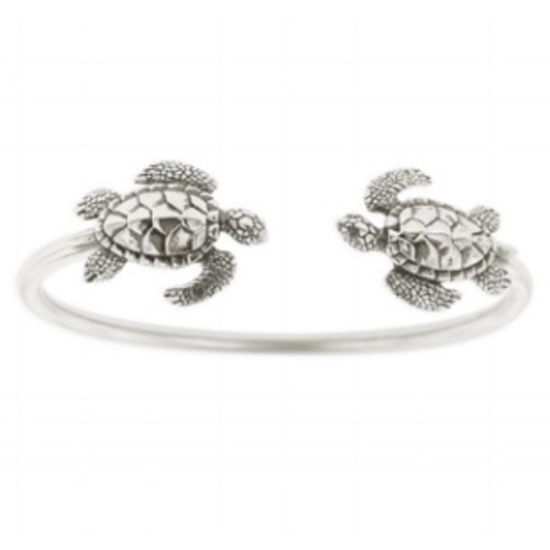Sea Turtle Sterling Silver Tube Bracelet | Nature Jewelry