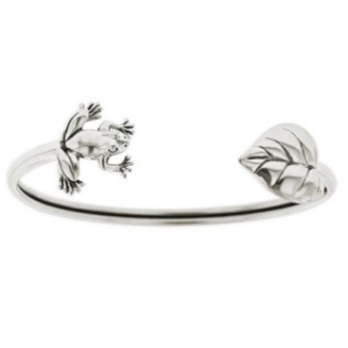 Frog & Leaf Sterling Silver Tube Bracelet   Nature Jewelry