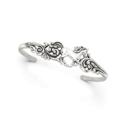 Horse Scroll Design Sterling Silver Bracelet | Nature Jewelry