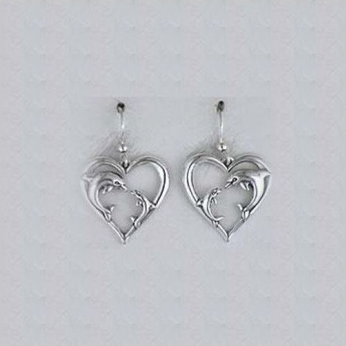 Dolphin Heart Sterling Silver Earrings | Nature Jewelry