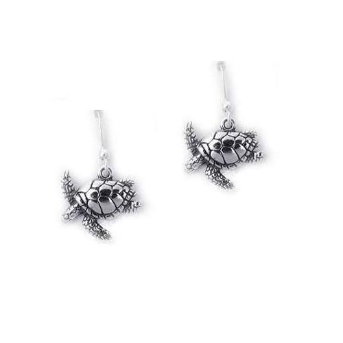 Sea Turtle Sterling Silver  French Wire Earrings | Kabana Jewelry | kE392