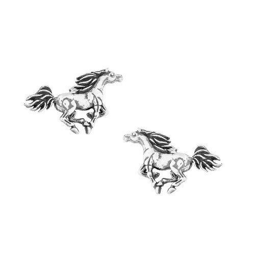 Galloping Horse Sterling Silver Post Earrings | Nature Jewelry