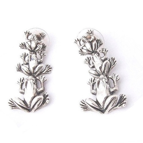 Frog Sterling Silver Dangle Earrings   Nature Jewelry