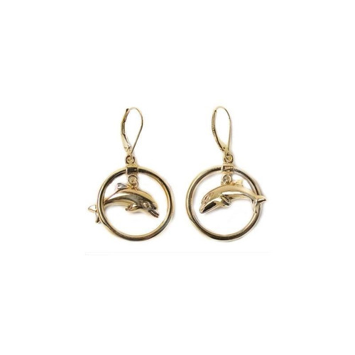 Dolphin Circle 14K Gold Wire Earrings | Nature Jewelry