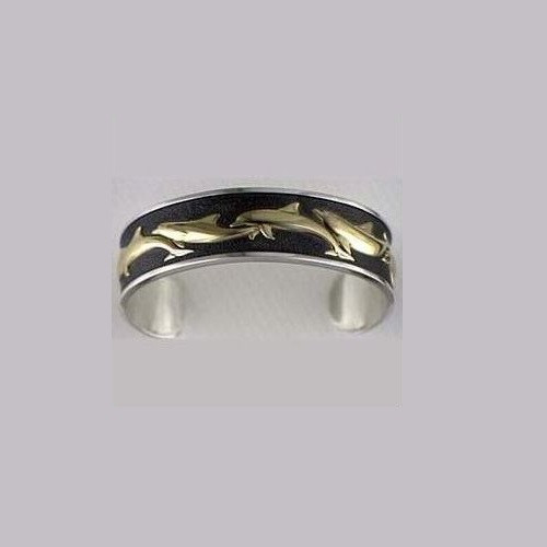 Dolphin 14K Gold & Sterling Silver  Cuff Bracelet | Nature Jewelry