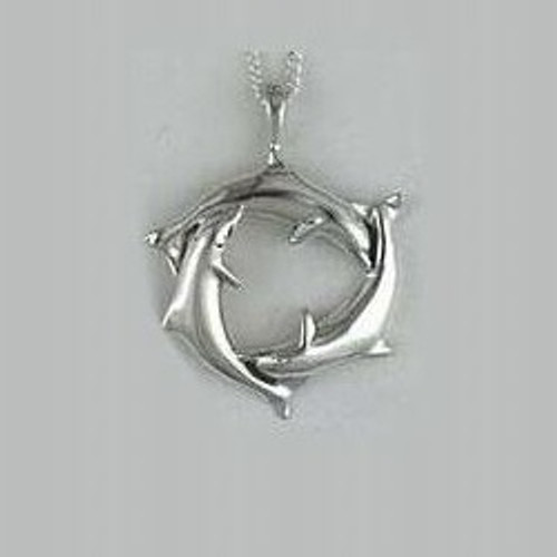 Dolphin Trio Sterling Silver Pendant Necklace| Nature Jewelry