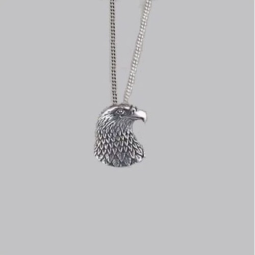 Eagle Head Pendant Sterling Silver Necklace | Nature Jewelry