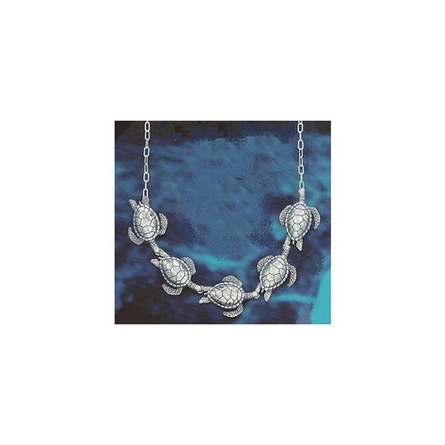 Five Turtle Sterling Silver Chain Necklace | Nature Jewelry