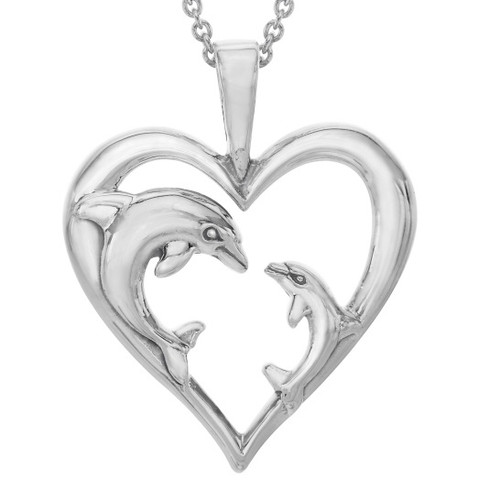 Dolphin Mother-Baby Silver Heart Pendant Necklace | Nature Jewelry