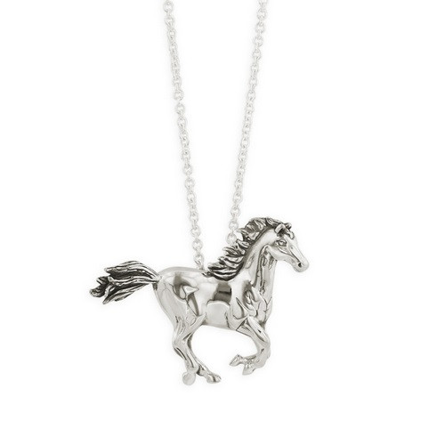 Galloping Horse Sterling Silver Pendant Necklace | Nature Jewelry