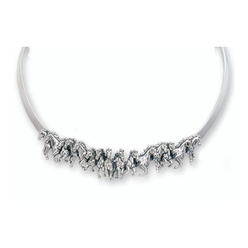 Horse Stampede Sterling Silver Collar Necklace | Nature Jewelry