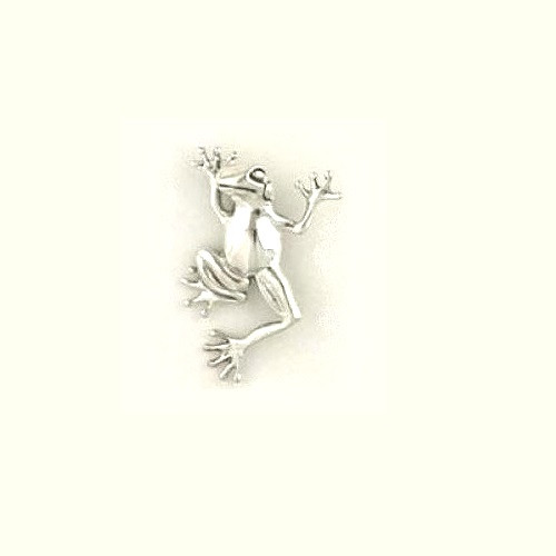 Dancing Frog Sterling Silver Pin   Nature Jewelry