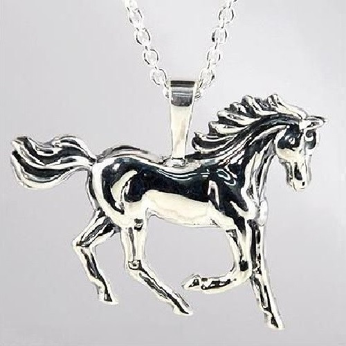 Prancing Horse Sterling Silver Pendant Necklace | Nature Jewelry