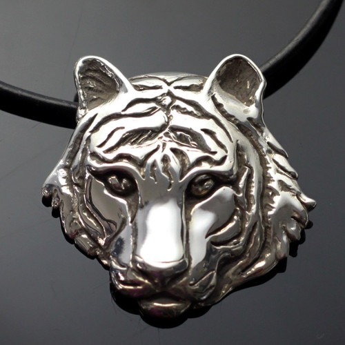 Tiger Silver Pendant Necklace   Nature Jewelry