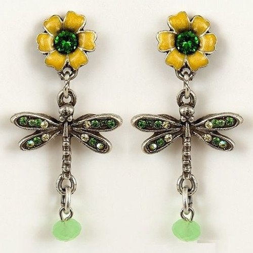 Flower and Dragonfly Earrings   Nature Jewelry