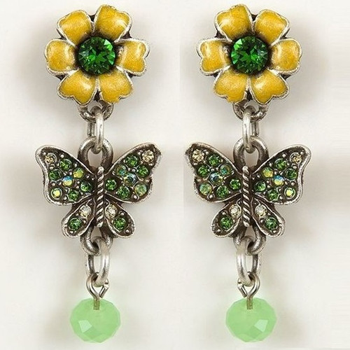 Flower and Butterfly Earrings | Nature Jewelry