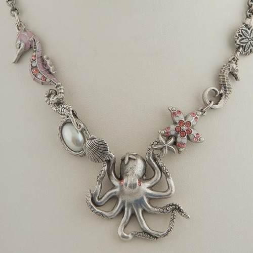 Octopus Seahorse Rose Chunky Necklace | Nature Jewelry