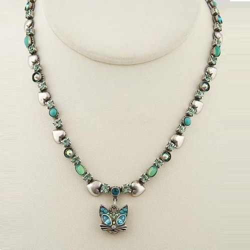 Glamorous Kitty Head Dangle Necklace | Nature Jewelry