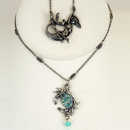 Crab Pave Pendant Necklace | Nature Jewelry