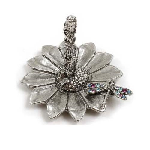 Dragonfly on Sunflower Ring Stand   Nature Jewelry