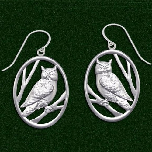 Owl Pewter Wire Earrings | Nature Jewelry