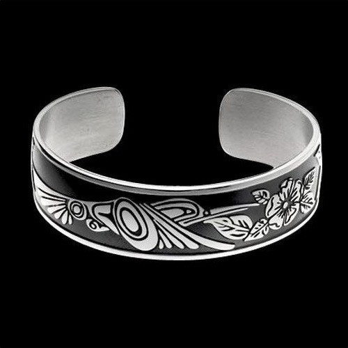 Hummingbird Sterling Silver Tribal Cuff Bracelet | Nature Jewelry