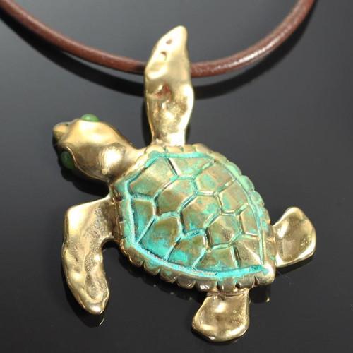 Loggerhead Sea Turtle Bronze Large Necklace | Nature Jewelry