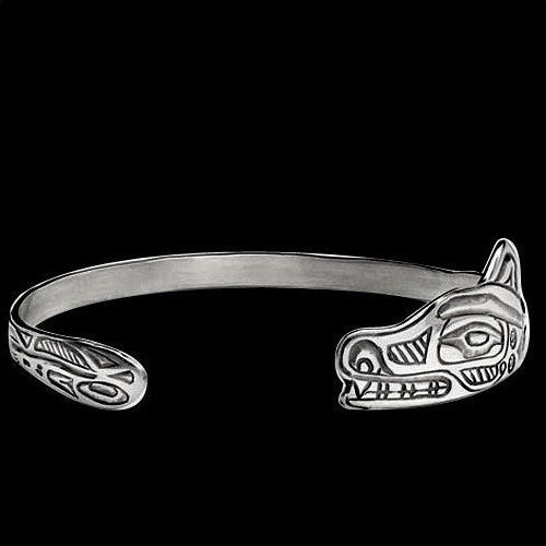 Wolf Tribal Sterling Silver Wrap Bracelet | Nature Jewelry