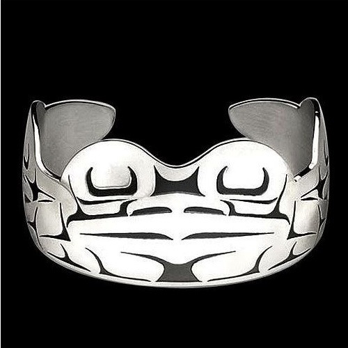 Frog Tribal Sterling Silver Cuff Bracelet   Nature Jewelry