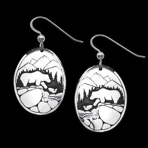 Fishing Bears Sterling Silver Earrings | Nature Jewelry