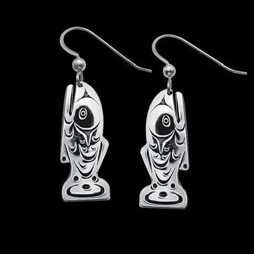 Salmon Sterling Silver Tribal Earrings | Nature Jewelry