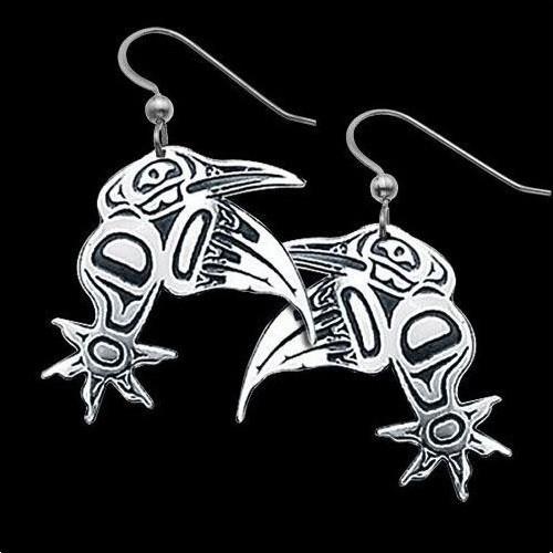 Hummingbird Sterling Silver Tribal Earrings   Nature Jewelry