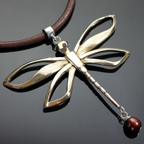Dragonfly Bronze Pendant Necklace   Nature Jewelry