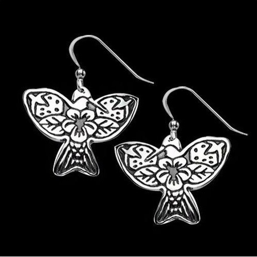 Hummingbird Tribal Sterling Silver Earrings   Nature Jewelry