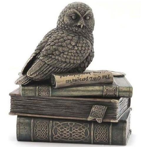 Snow Owl On Books Trinket Jewelry Box